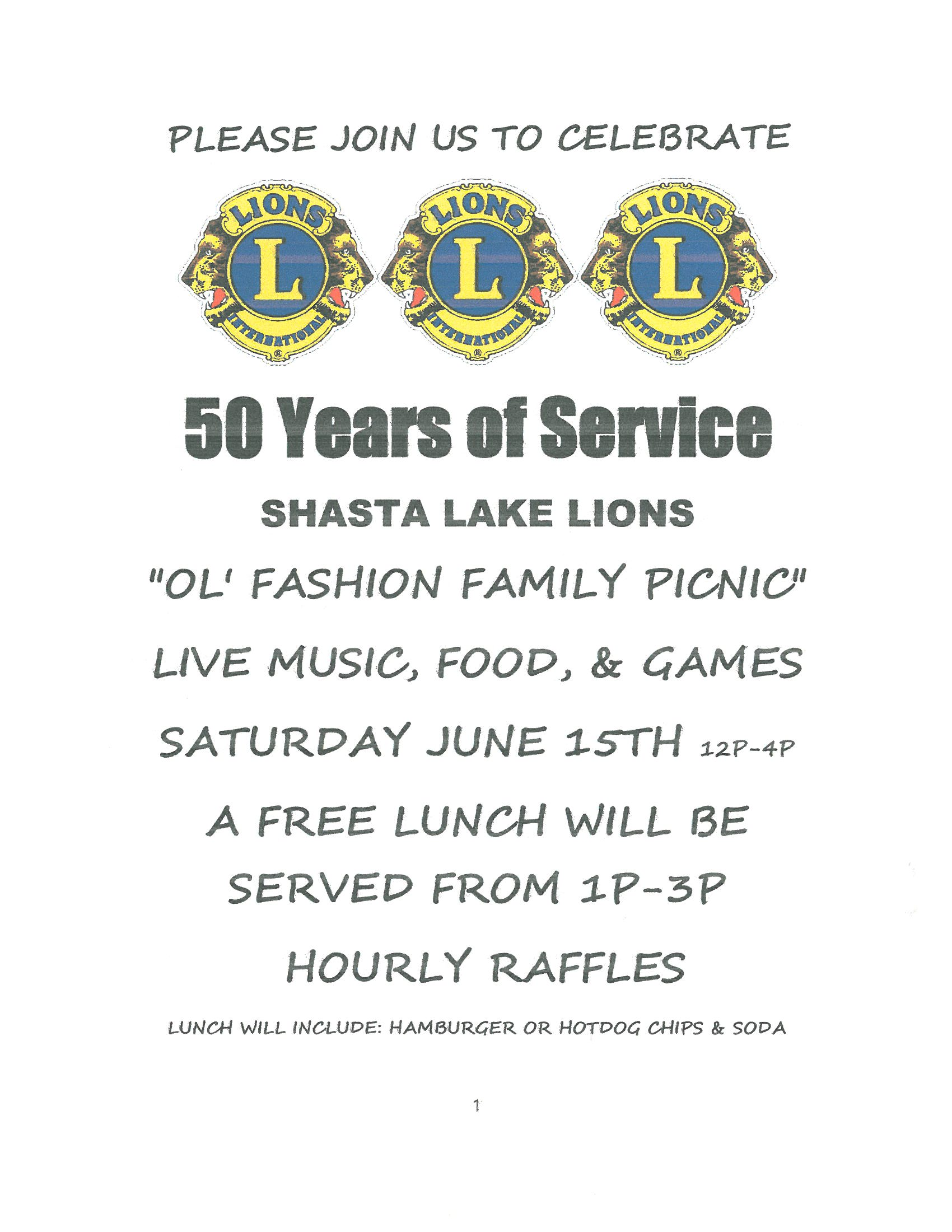 Lions Club 50 Years of Service