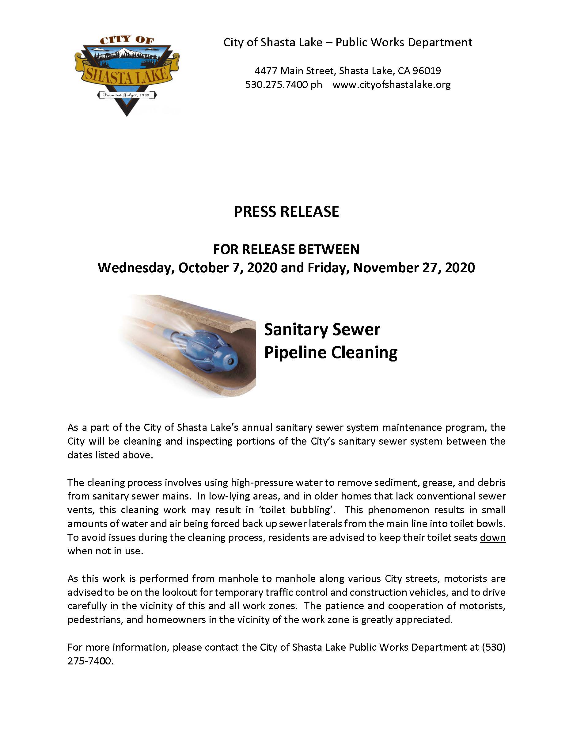 Press Release - Pipeline Cleaning 10-06-20
