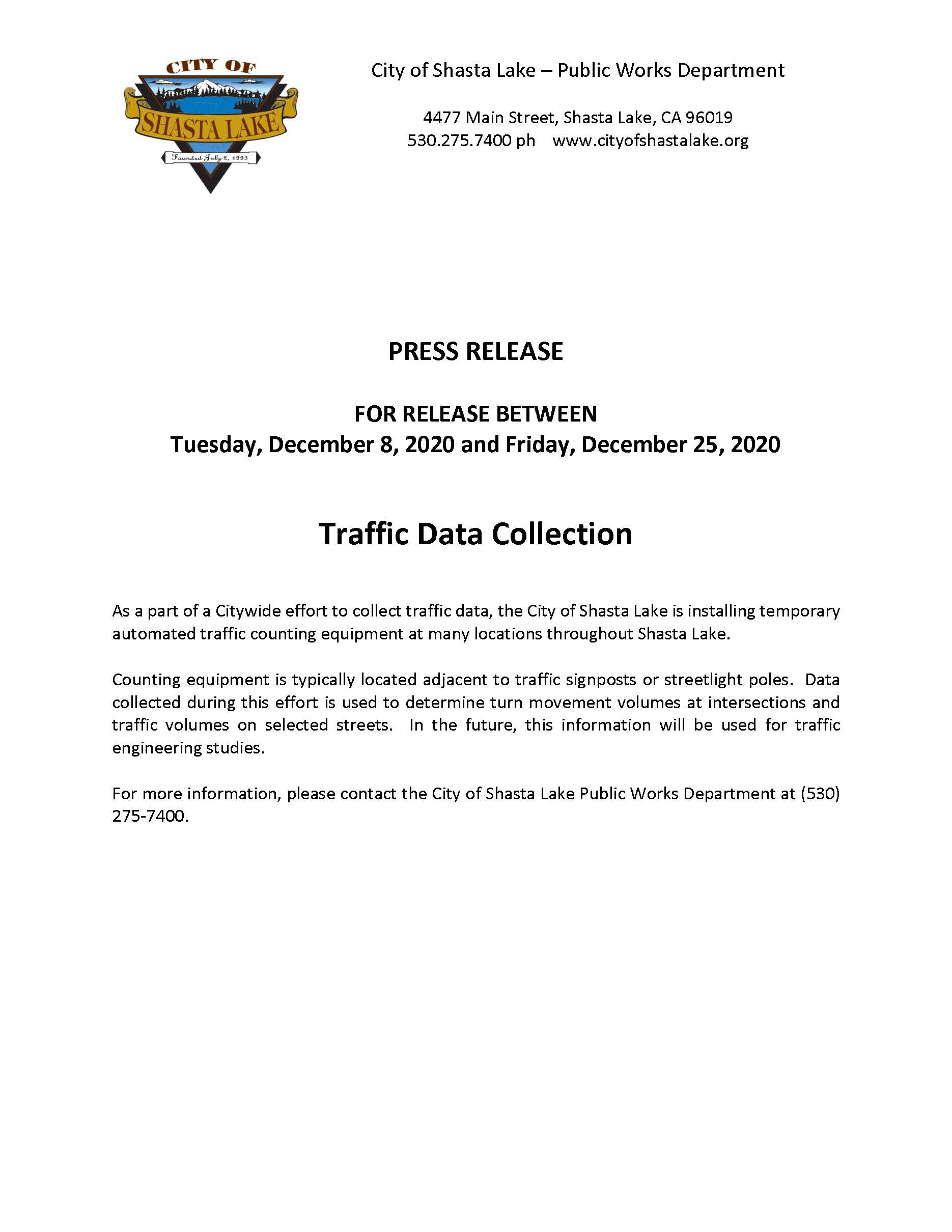 Press Release - Traffic Counts 12-08-20