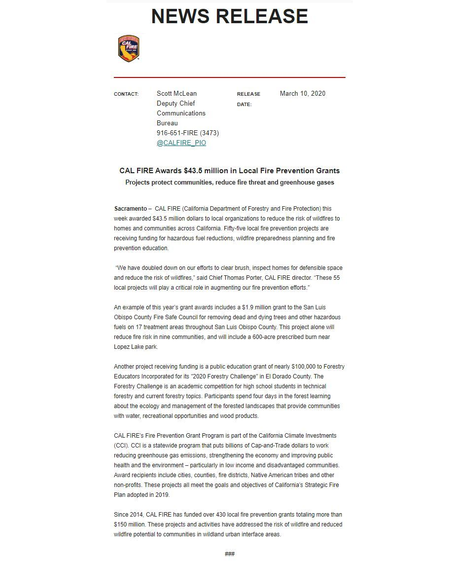 Cal Fire Award Press Release March 2020