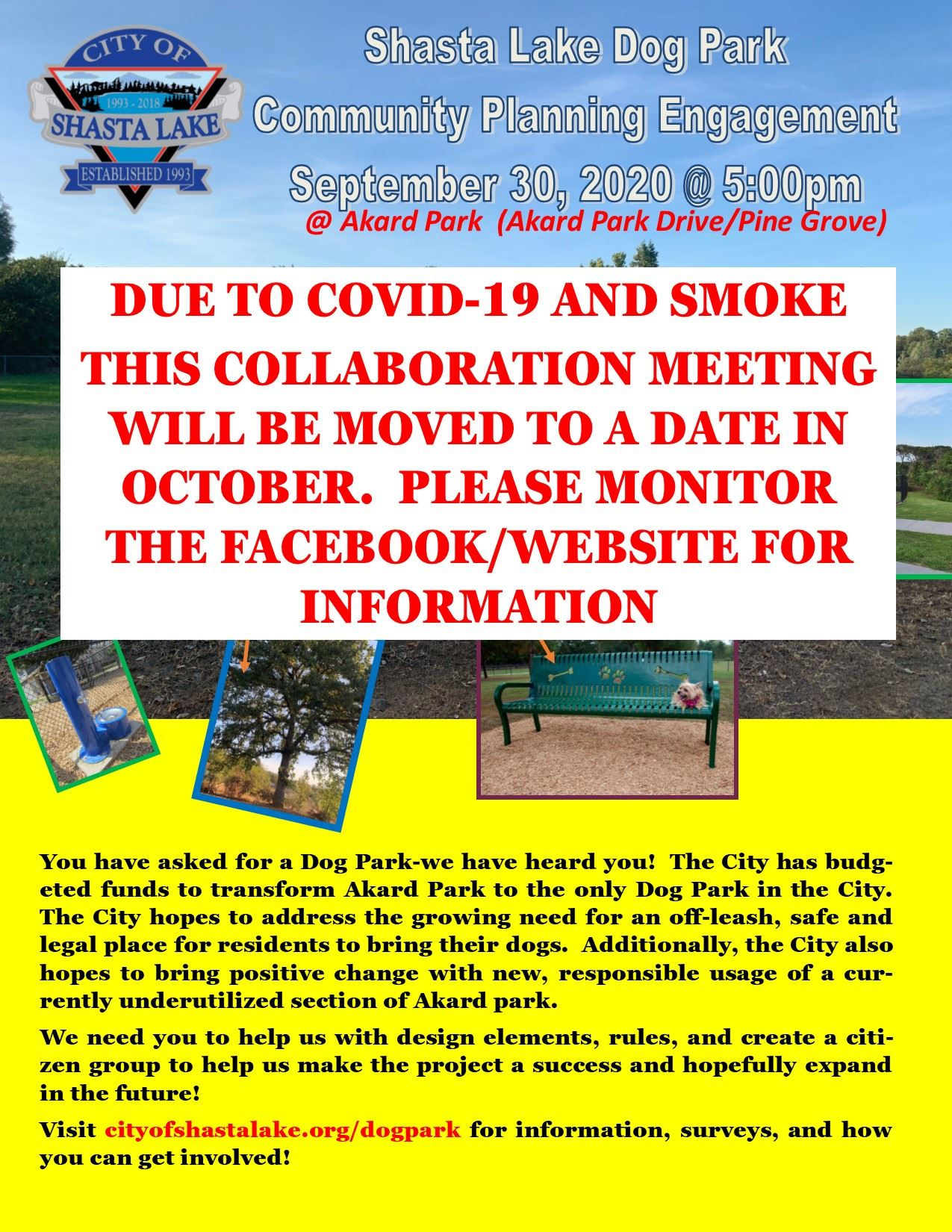 Dog Park Community Collaboration Meeting CANCEL